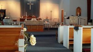 church decorated wedding