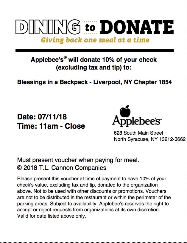 0f99747677b7 Show this flyer to your server at Applebee s in North Syracuse on July  11th